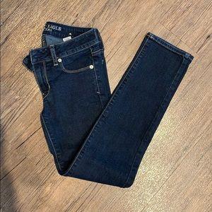 Dark Wash jeans with white detail stitching